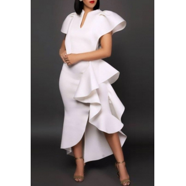 Lovely Sweet Flounce Design White Ankle Length Dress
