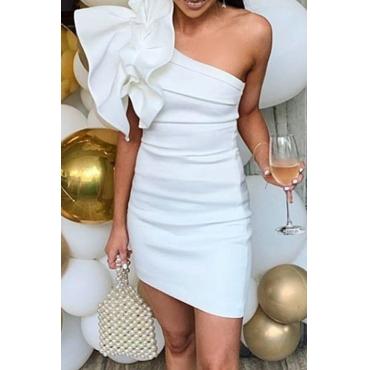 Lovely Sweet One Shoulder White Mini Dress