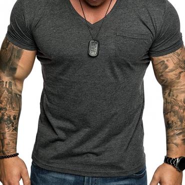 Lovely Casual Basic Dark Grey T-shirt
