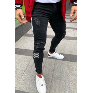 Lovely Casual Patchwork Black Jeans