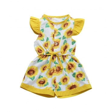 Lovely Bohemian Print Yellow Girl Two-piece Romper