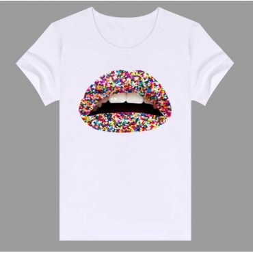 Lovely Casual O Neck Lip Print Multicolor Plus Size T-shirt