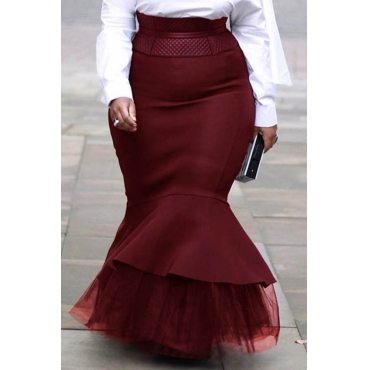 Lovely Casual Flounce Design Wine Red Plus Size Skirt