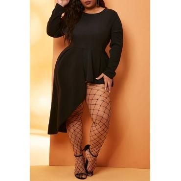 Lovely Casual Asymmetrical Black Mini Plus Size Dress