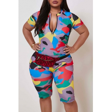 Lovely Casual Camo Print Yellow Plus Size One-piece Romper
