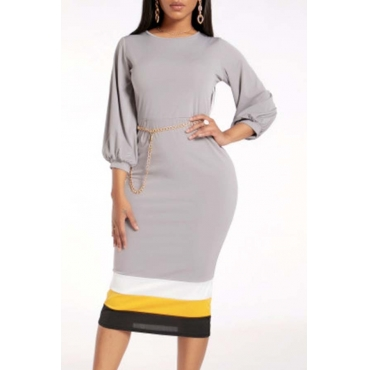 Lovely Work Patchwork Grey Mid Calf Dress