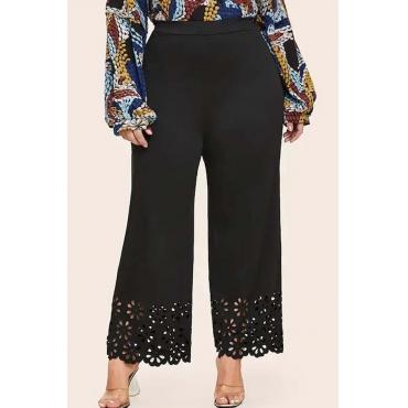 Lovely Casual Lace Patchwork Black Plus Size Pants