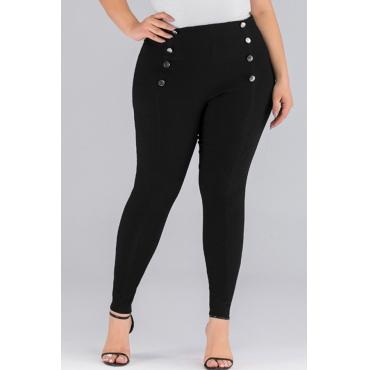 Lovely Trendy Buttons Design Black Plus Size Pants