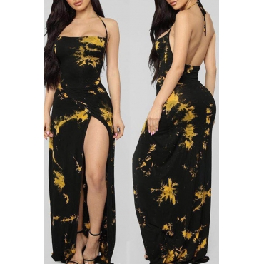 Lovely Trendy Print Black Maxi Dress