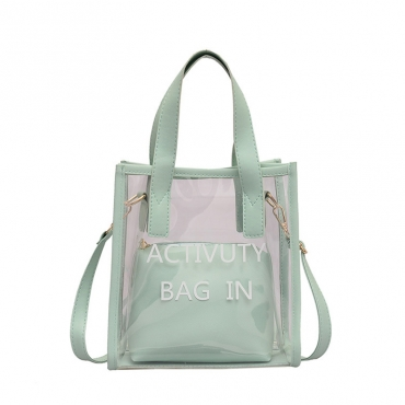 Lovely Chic Letter Print Green Crossbody Bag