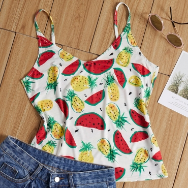 Lovely Bohemian Fruit Print White Camisole