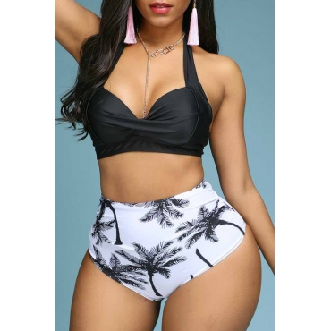Lovely Print High-waisted Black Two-piece Swimsuit