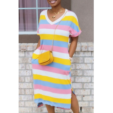 Lovely Leisure V Neck Striped Pink Mid Calf T-shirt Dress