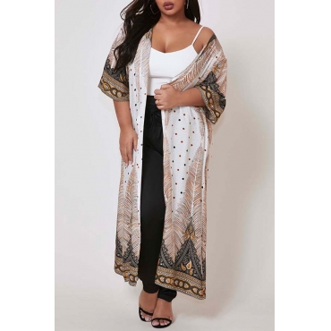 Lovely Print Beige Plus Size Cover-Up