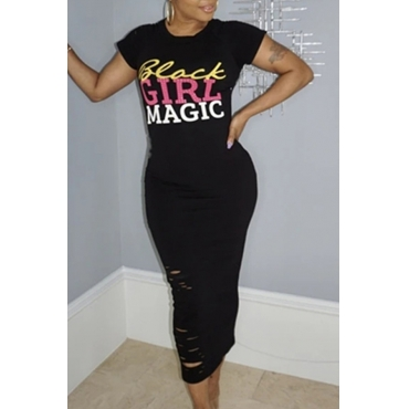 Lovely Casual O Neck Letter Print Black Mid Calf T-shirt Dress