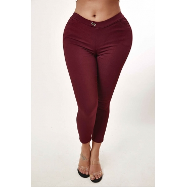 Lovely Casual Basic Red Pants