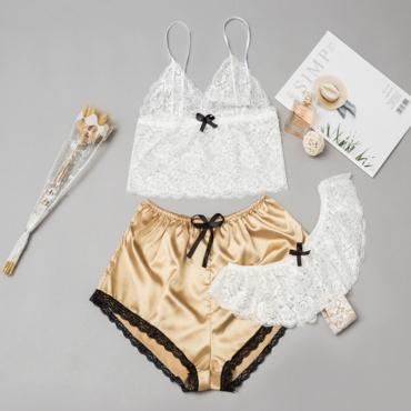Lovely Sexy Lace Hem Gold Sleepwear