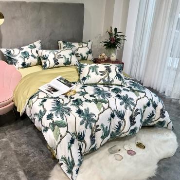 Lovely Cosy Print Green Bedding Set