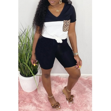 Lovely Casual Patchwork Black Two-piece Shorts Set