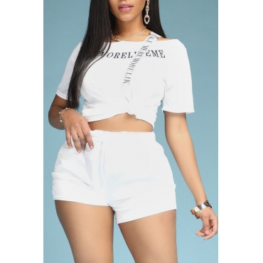 Lovely Sportswear Letter Print White Two-piece Shorts Set