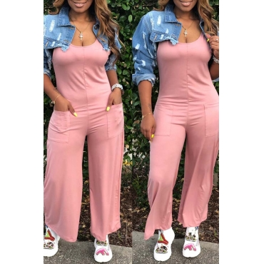 Lovely Casual Pocket Patched Pink One-piece Jumpsuit