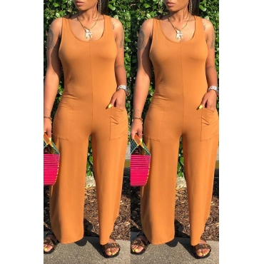 Lovely Casual Pocket Patched Orange One-piece Jumpsuit
