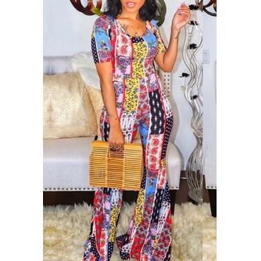 Lovely Bohemian Print Multicolor One-piece Jumpsuit