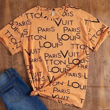 Lovely Casual O Neck Letter Print Orange T-shirt