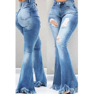 Lovely Leisure Broken Holes Blue Jeans