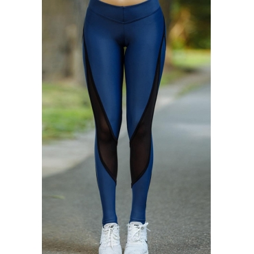 Lovely Sportswear Patchwork Blue Leggings