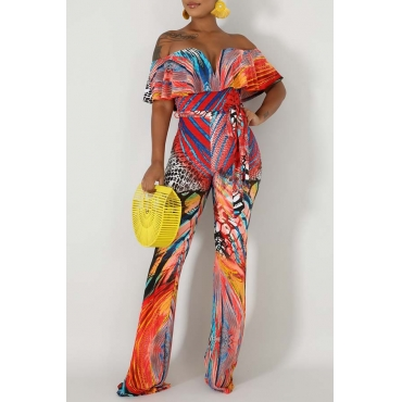 Lovely Bohemian Print Multicolor One-piece Jumpsuit