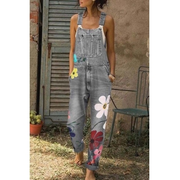 Lovely Leisure Print Grey Plus Size One-piece Jumpsuit