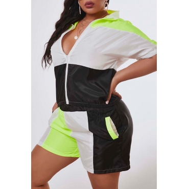 Lovely Leisure Patchwork Black Plus Size Two-piece Shorts Set