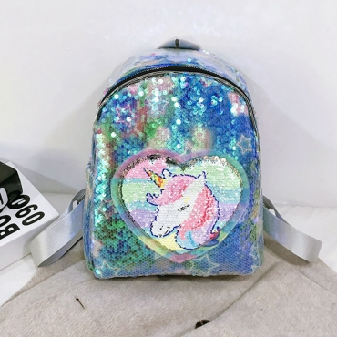 Lovely Stylish Sequined Blue Backpack