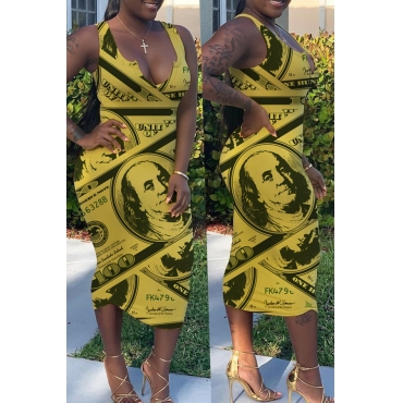 Lovely Stylish V Neck Print Yellow Mid Calf Dress