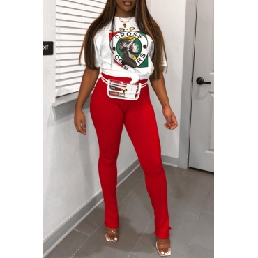 Lovely Casual Print Red Two-piece Pants Set