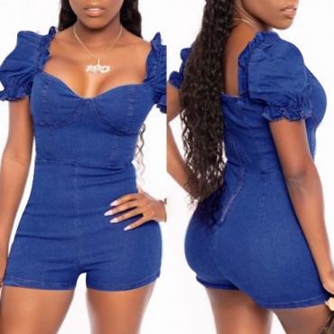 Lovely Trendy Fold Design Blue One-piece Romper