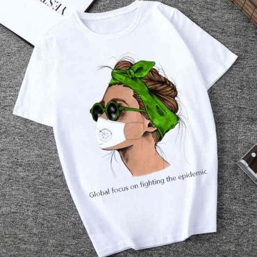 Lovely Casual O Neck Cartoon Print White T-shirt