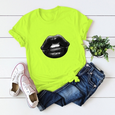Lovely Casual O Neck Lip Print Green Plus Size T-shirt
