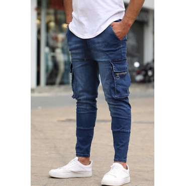 Lovely Trendy Pocket Patched Blue Jeans