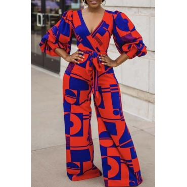 Lovely Stylish Print Rose Red One-piece Jumpsuit