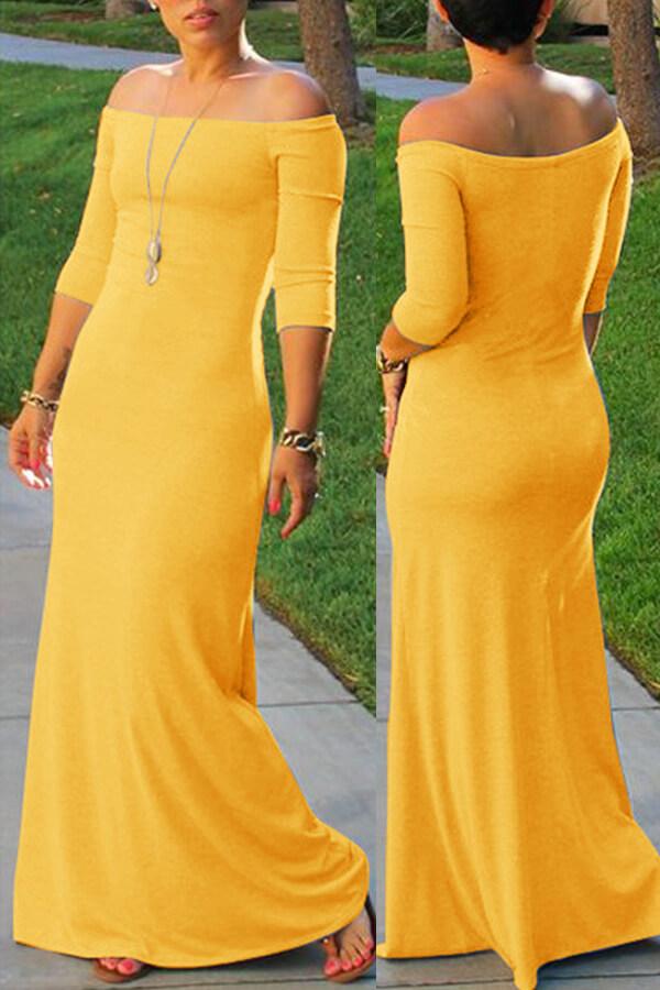 Lovely Bohemian Dew Shoulder Yellow Maxi Dress