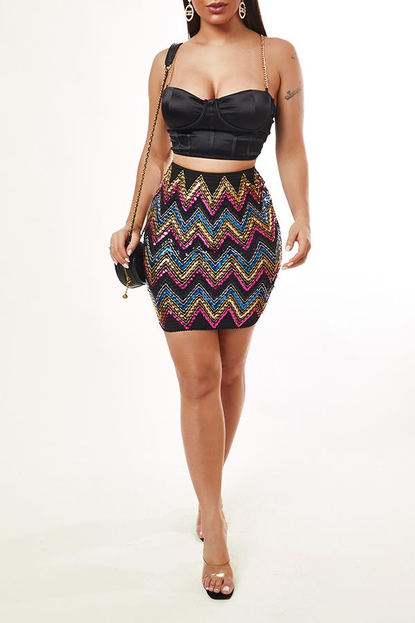 Lovely Sexy Sequined Black Skirt