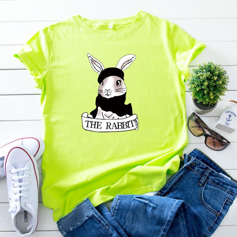 Lovely Leisure O Neck Rabbit Print Green Plus Size T-shirt