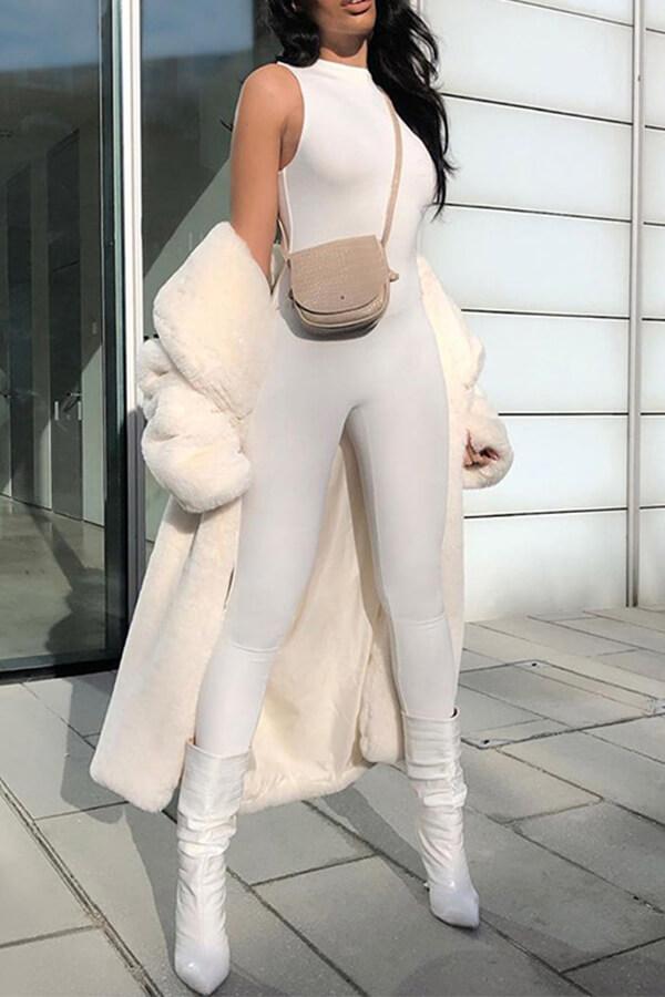 Lovely Trendy Basic Skinny White One-piece Jumpsuit
