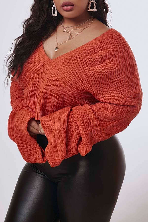 Lovely Trendy V Neck Striped Croci Plus Size Sweater