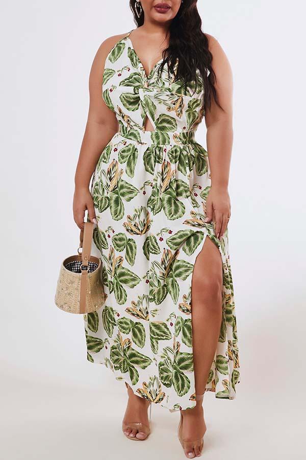 Lovely Bohemian Plants Print Green Ankle Length Plus Size Dress
