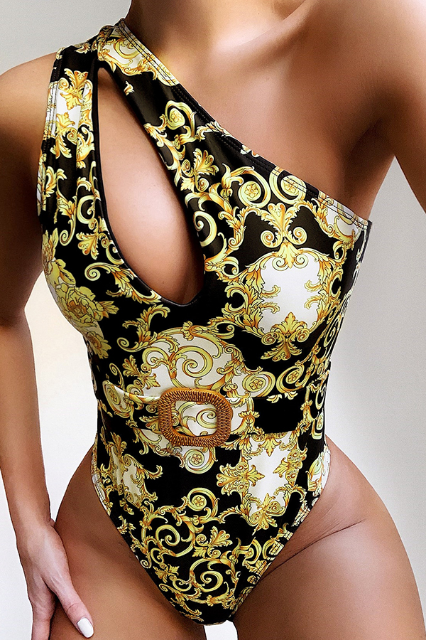 Lovely One Shoulder Cut-Out Yellow One-piece Swimsuit