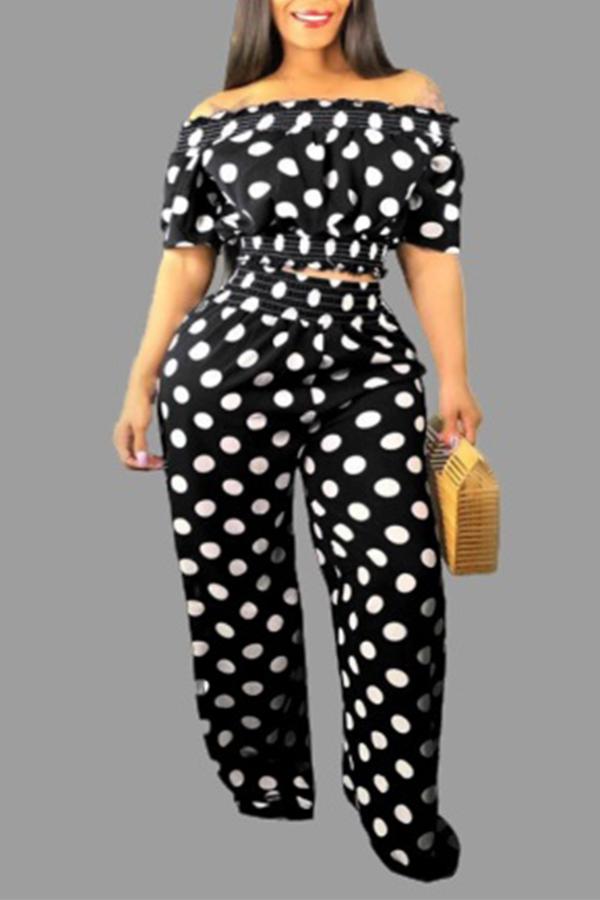 Lovely Sweet Dot Print Black Plus Size Two-piece Pants Set