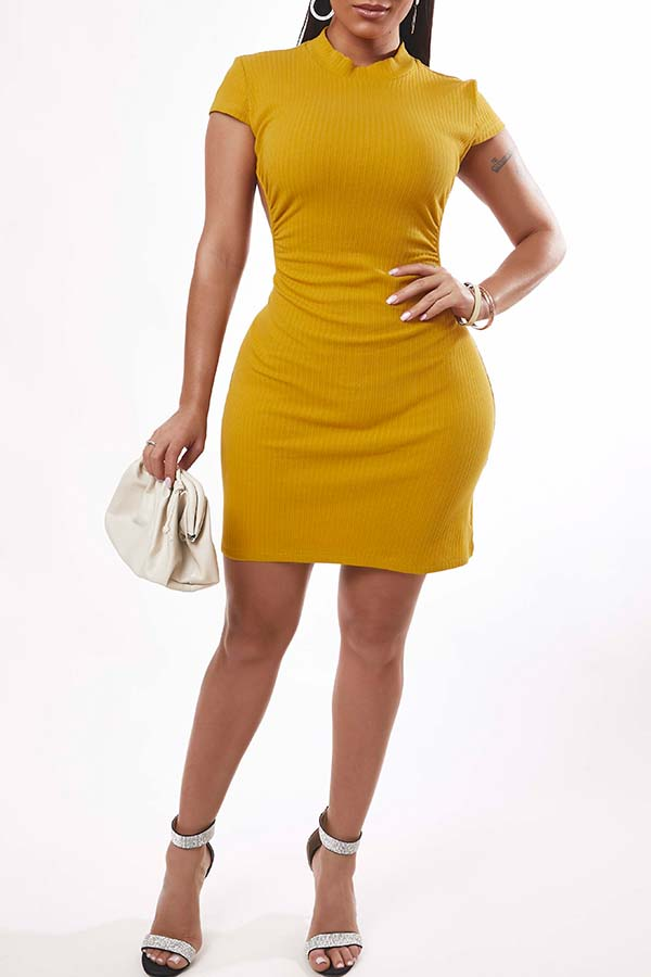 Lovely Sexy Backless Yellow Mini Dress